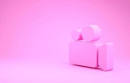 Pink Movie or Video camera icon isolated on pink background. Cinema camera icon. Minimalism concept. 3d illustration 3D render 스톡 콘텐츠