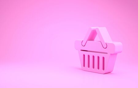 Pink Shopping basket icon isolated on pink background. Minimalism concept. 3d illustration 3D render
