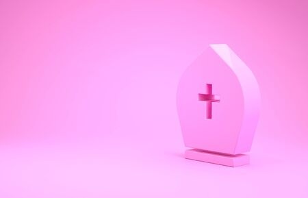 Pink Pope hat icon isolated on pink background. Christian hat sign. Minimalism concept. 3d illustration 3D render 写真素材