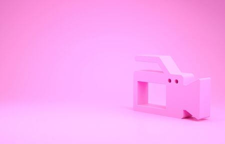 Pink Cinema camera icon isolated on pink background. Video camera. Movie sign. Film projector. Minimalism concept. 3d illustration 3D render