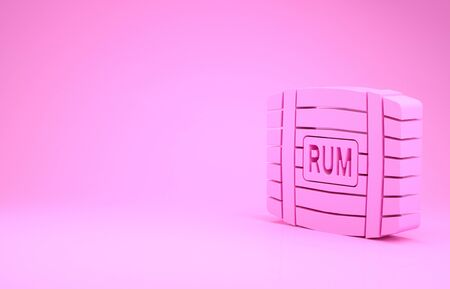Pink Wooden barrel with rum icon isolated on pink background. Minimalism concept. 3d illustration 3D render Stok Fotoğraf