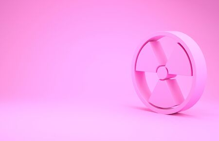 Pink Radioactive icon isolated on pink background. Radioactive toxic symbol. Radiation Hazard sign. Minimalism concept.