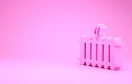 Pink Heating radiator icon isolated on pink background. Minimalism concept. 写真素材