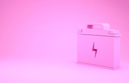 Pink Car battery icon isolated on pink background. Accumulator battery energy power and electricity accumulator battery. Lightning bolt.