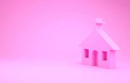 Pink Church building icon isolated on pink background. Christian Church. Religion of church. Minimalism concept.