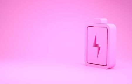 Pink Battery icon isolated on pink background. Lightning bolt symbol.
