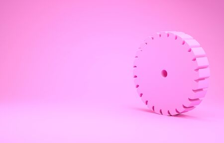 Pink Circular saw blade icon isolated on pink background. Saw wheel. Minimalism concept. 3d illustration 3D render Stockfoto