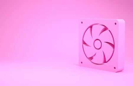 Pink Computer cooler icon isolated on pink background. PC hardware fan. Minimalism concept. 3d illustration 3D render