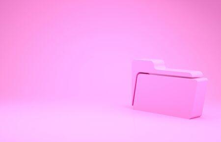 Pink Folder icon isolated on pink background. Minimalism concept. 3d illustration 3D render