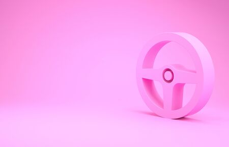 Pink Steering wheel icon isolated on pink background. Car wheel icon. Minimalism concept. 3d illustration 3D render Фото со стока