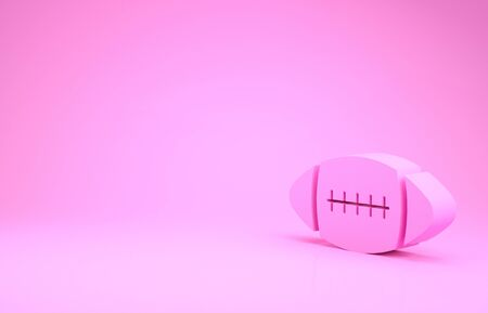 Pink American Football ball icon isolated on pink background. Minimalism concept. 3d illustration 3D render Stock Photo