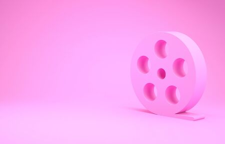 Pink Film reel icon isolated on pink background. Minimalism concept.