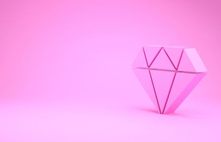 Pink Diamond icon isolated on pink background. Jewelry symbol. Gem stone. Minimalism concept. 3d illustration 3D render