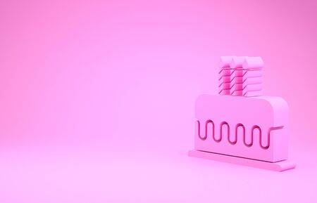 Pink Cake with burning candles icon isolated on pink background. Happy Birthday. Minimalism concept. 写真素材 - 131777471