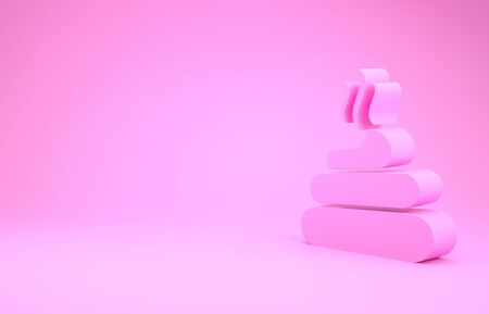 Pink Shit icon isolated on pink background. Minimalism concept.