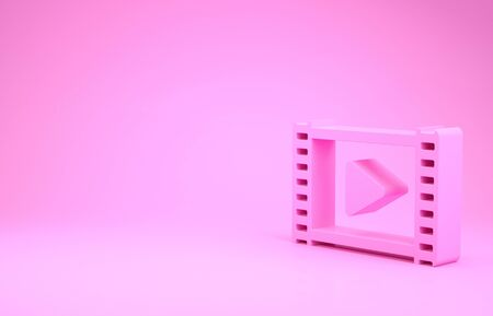 Pink Play Video icon isolated on pink background. Film strip with play sign. Minimalism concept.