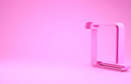 Pink Paper scroll icon isolated on pink background. Canvas scroll sign. Minimalism concept. 3d illustration 3D render