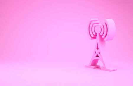 Pink Antenna icon isolated on pink background. Radio antenna wireless. Technology and network signal radio antenna. Minimalism concept. Stok Fotoğraf