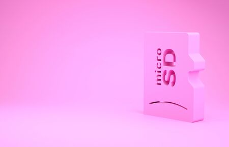 Pink Micro SD memory card icon isolated on pink background. Minimalism concept. 3d illustration 3D render