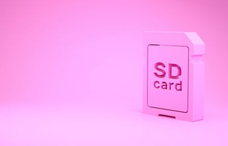 Pink SD card icon isolated on pink background. Memory card. Adapter icon. Minimalism concept. 3d illustration 3D render