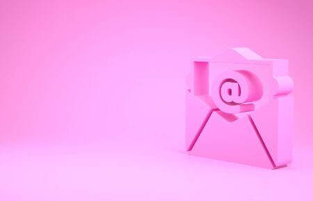Pink Mail and e-mail icon isolated on pink background. Envelope symbol e-mail. Email message sign. Minimalism concept.