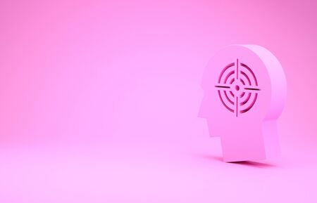 Pink Head hunting concept icon isolated on pink background. Business target or Employment sign. Human resource and recruitment for business. Minimalism concept.
