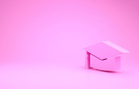 Pink Graduation cap icon isolated on pink background. Graduation hat with tassel icon. Minimalism concept. 3d illustration 3D render Banco de Imagens