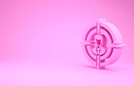 Pink Head hunting concept icon isolated on pink background. Business target or Employment sign. Human resource and recruitment for business. Minimalism concept. 3d illustration 3D render