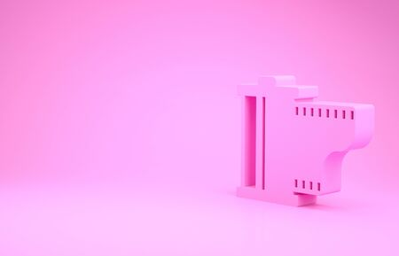 Pink Camera vintage film roll cartridge icon isolated on pink background. Film reel. 35mm film canister. Filmstrip photographer equipment. Minimalism concept. 3d illustration 3D render