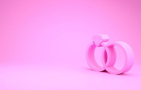 Pink Wedding rings icon isolated on pink background. Bride and groom jewelery sign. Marriage icon. Diamond ring. Minimalism concept. 3d illustration 3D render Banque d'images - 131633452