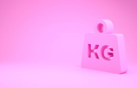 Pink Weight icon isolated on pink background. Kilogram weight block for weight lifting and scale. Mass symbol. Minimalism concept. 3d illustration 3D render Stok Fotoğraf