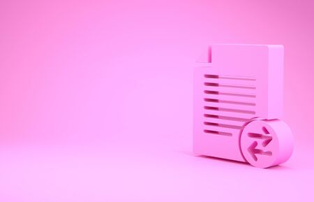Pink Transfer files icon isolated on pink background. Copy files, data exchange, backup, PC migration, file sharing concepts. Minimalism concept. 3d illustration 3D render Stockfoto