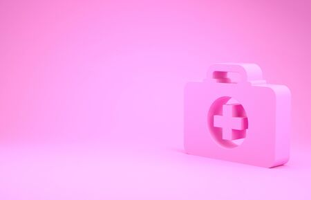 Pink First aid kit icon isolated on pink background. Medical box with cross. Medical equipment for emergency. Healthcare concept. Minimalism concept. 3d illustration 3D render