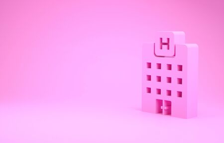 Pink Medical hospital building with cross icon isolated on pink background. Medical center. Health care. Minimalism concept. 3d illustration 3D render