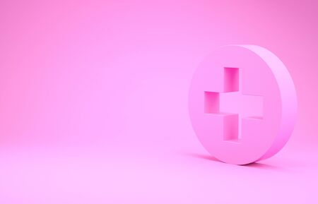 Pink Medical cross in circle icon isolated on pink background. First aid medical symbol. Minimalism concept.