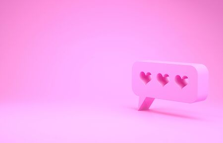 Pink Like and heart icon isolated on pink background. Counter Notification Icon.