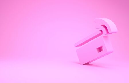 Pink Contactless payment with nfc card icon isolated on pink background. Card with radio wave sign. Credit card payment. Minimalism concept. 3d illustration 3D render