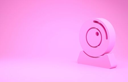 Pink Web camera icon isolated on pink background. Chat camera. Webcam icon. Minimalism concept. 3d illustration 3D render
