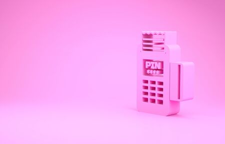 Pink POS terminal with inserted credit card and printed reciept icon isolated on pink background. NFC payment concept. Minimalism concept. 3d illustration 3D render Stock fotó