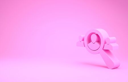 Pink Magnifying glass for search a people icon isolated on pink background. Recruitment or selection concept. Search for employees and job. Minimalism concept. 3d illustration 3D render