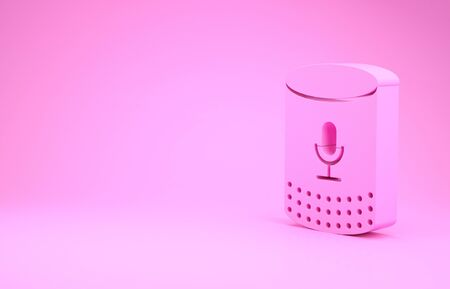 Pink Voice assistant icon isolated on pink background. Voice control user interface smart speaker. Minimalism concept. 3d illustration 3D render