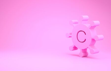 Pink Copywriting network icon isolated on pink background. Content networking symbol. Copyright sign. Copywriting network sign. Minimalism concept. 3d illustration 3D render Banco de Imagens