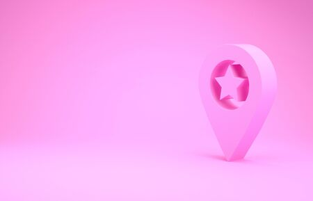 Pink Map pointer with star icon isolated on pink background. Star favorite pin map icon. Map markers. Minimalism concept. 3d illustration 3D render Reklamní fotografie