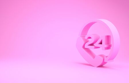 Pink Telephone 24 hours support icon isolated on pink background. All-day customer support call-center. Full time call services. Minimalism concept. 3d illustration 3D render 写真素材