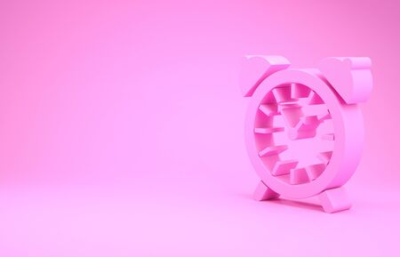 Pink Alarm clock icon isolated on pink background. Wake up, get up concept. Time sign. Minimalism concept. 3d illustration 3D render