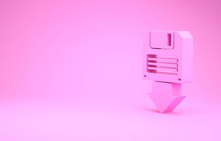 Pink Floppy disk backup icon isolated on pink background. Diskette sign. Minimalism concept. 3d illustration 3D render