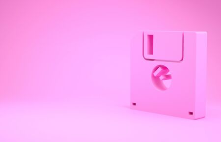 Pink Floppy disk for computer data storage icon isolated on pink background. Diskette sign. Minimalism concept. 3d illustration 3D render