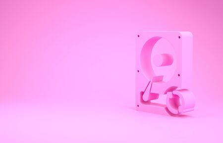 Pink Hard disk drive HDD sync refresh icon isolated on pink background. Minimalism concept. 3d illustration 3D render