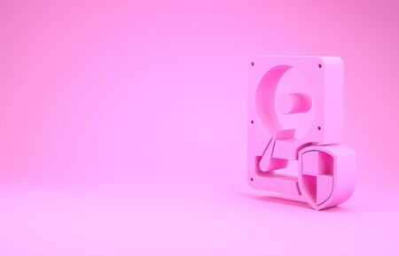Pink Hard disk drive HDD protection icon isolated on pink background. Minimalism concept. 3d illustration 3D render Stock Photo