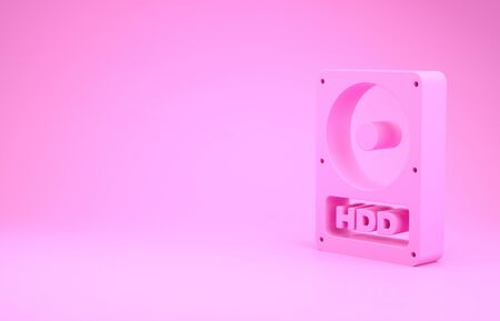 Pink Hard disk drive HDD icon isolated on pink background. Minimalism concept. 3d illustration 3D render